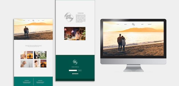 Elegantes plantillas de página web para boda PSD gratuito