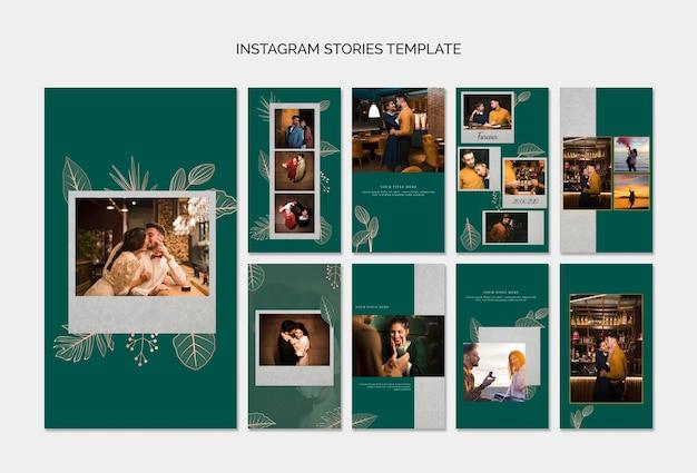 Elegantes plantillas de stories de instagram para boda PSD gratuito