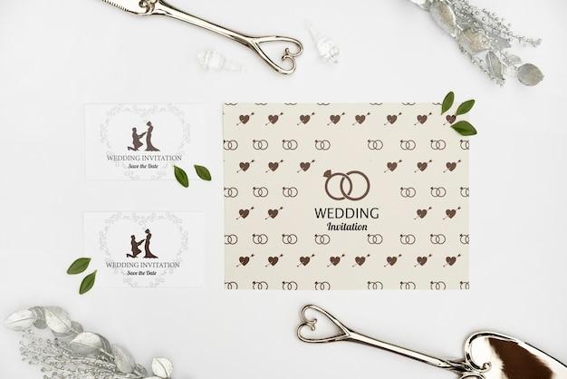 Elegantes tarjetas de invitación de boda PSD gratuito