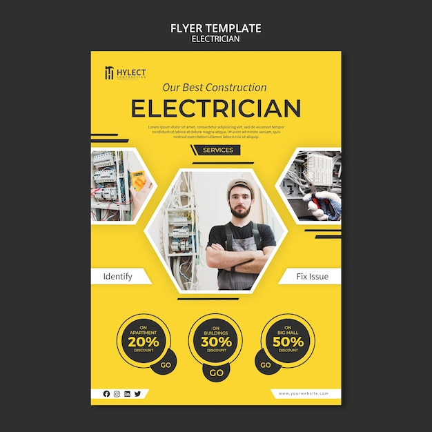 Elektricien flyer sjabloon thema Gratis Psd