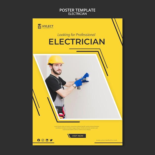 Elektricien poster sjabloon Gratis Psd
