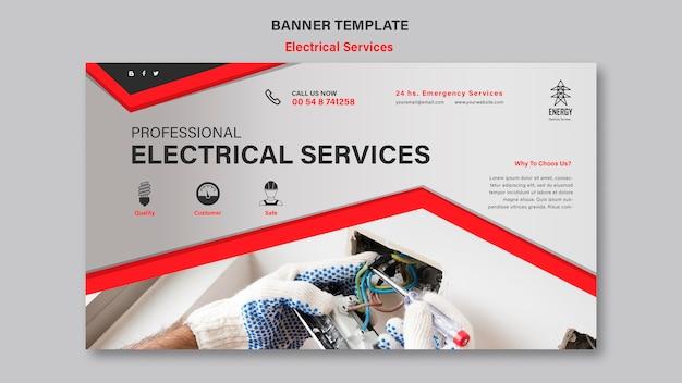 Elektrische diensten horizontale banner Gratis Psd