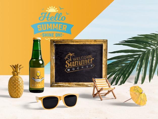 Elementi estivi per godersi le vacanze sulla spiaggia Psd Gratuite