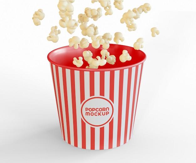 Emmer met popcorn flying mockup Gratis Psd