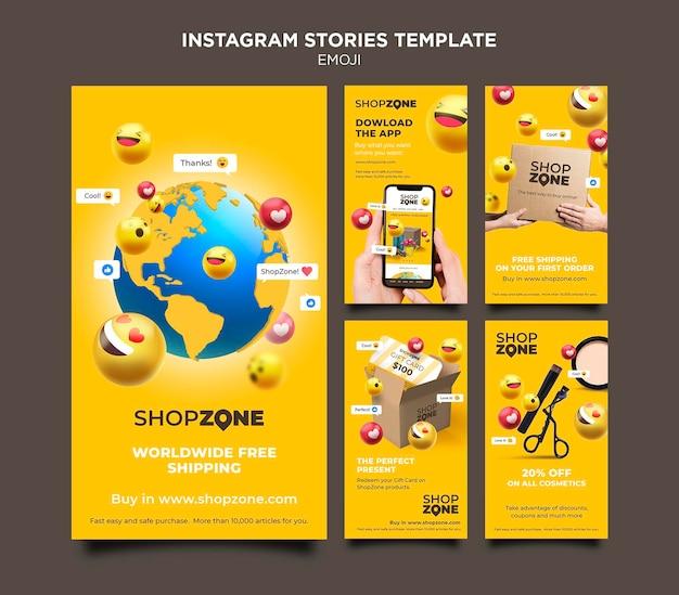 Emoji instagram verhalen sjabloon Premium Psd