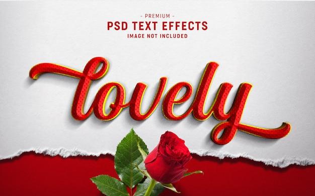 Encantador efecto de estilo de texto de san valentín en papel rasgado blanco PSD Premium
