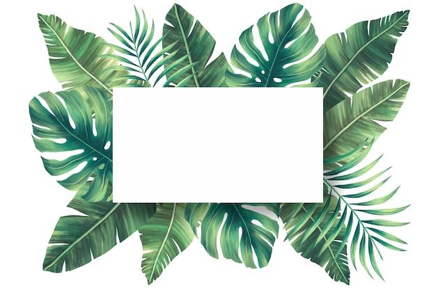 Encantador marco natural con hojas tropicales PSD gratuito