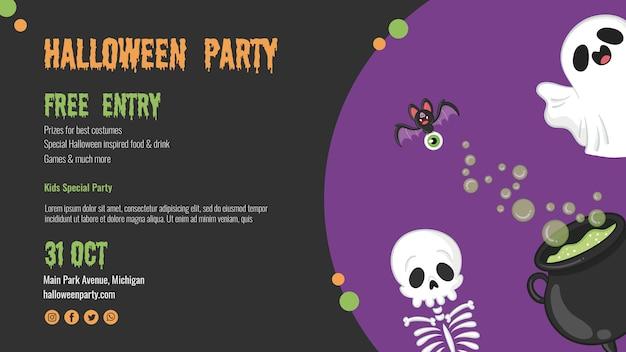 Enge halloween-vlieger met skelet en spook Gratis Psd