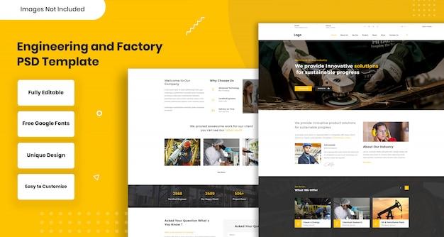 Engineering en fabriek websjabloon Premium Psd