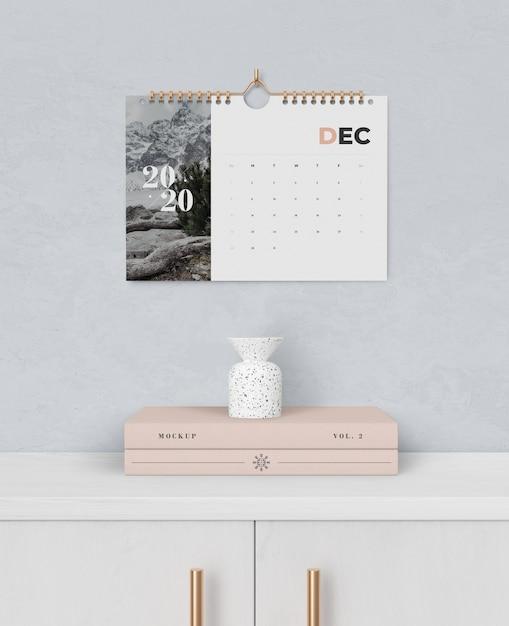 Enlace de libro espiral para calendario fijado en la pared PSD gratuito