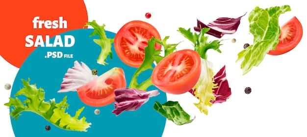 Ensalada caída de rucola, lechuga, achicoria, frise verde y tomates PSD Premium