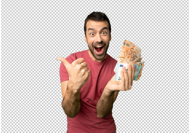 Equipaggi la presa dei molti soldi che danno i pollici aumentano il gesto con entrambe le mani e sorridere Psd Premium