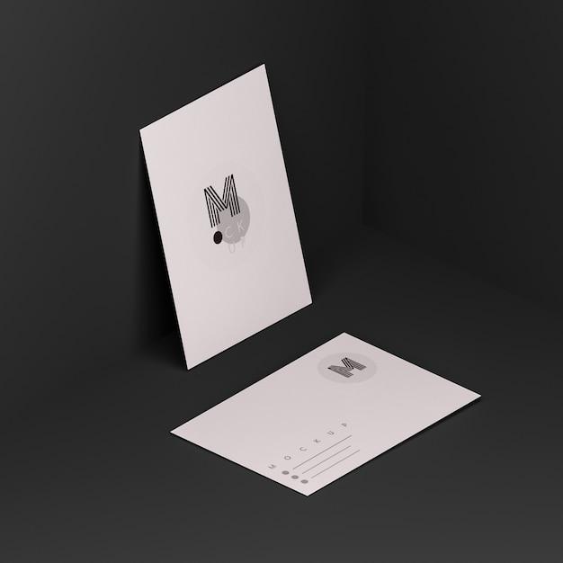 Escena negra con maqueta de tarjeta de visita PSD gratuito