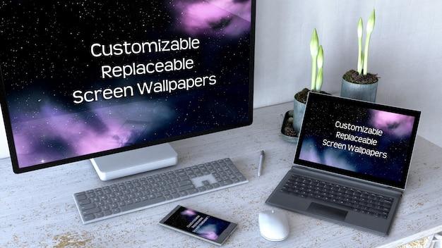 Escritorio de oficina editable, maqueta con equipo informático. PSD gratuito