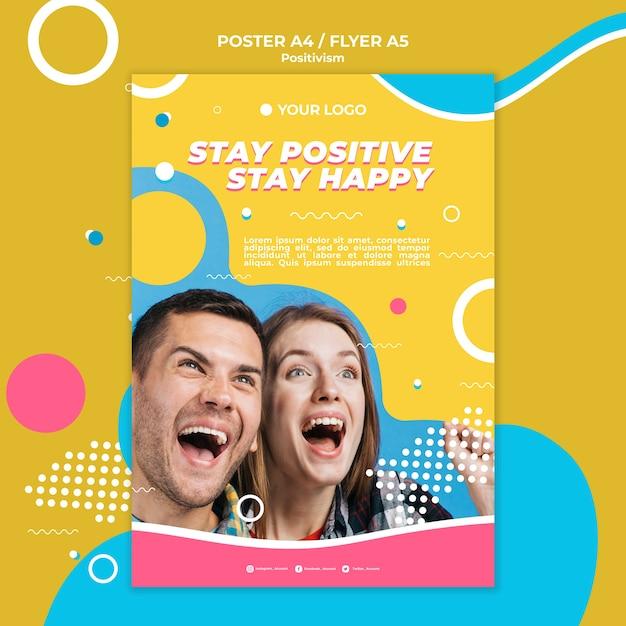 Estilo de cartel de concepto de positivismo PSD gratuito