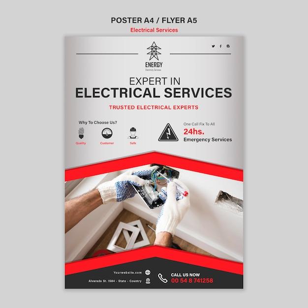 Estilo de cartel de servicios de expertos eléctricos. PSD gratuito