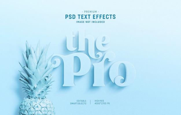 Estilo de efecto de texto mínimo azul pálido 3d PSD Premium