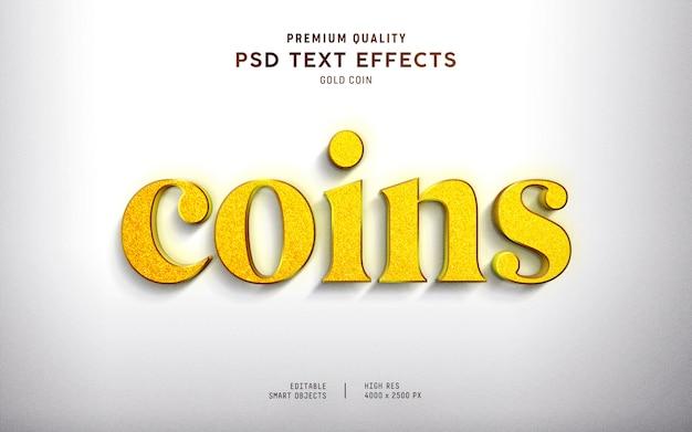 Estilo de efecto de texto de moneda de oro 3d PSD Premium