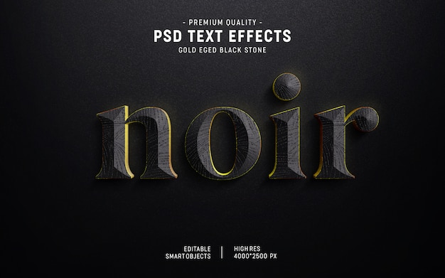 Estilo de efecto de texto de piedra de borde de oro 3d PSD Premium