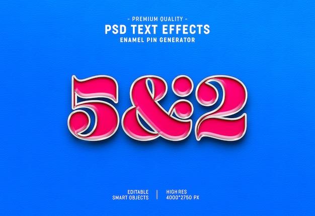 Estilo de efecto de texto de pin de esmalte 3d PSD Premium