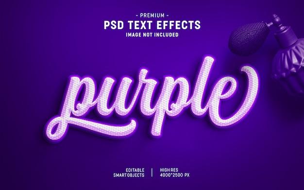 Estilo de efecto de texto de resplandor púrpura PSD Premium