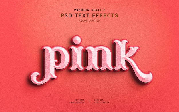 Estilo de efecto de texto rosa dulce 3d PSD Premium