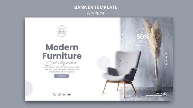 Estilo de plantilla de banner de muebles PSD gratuito