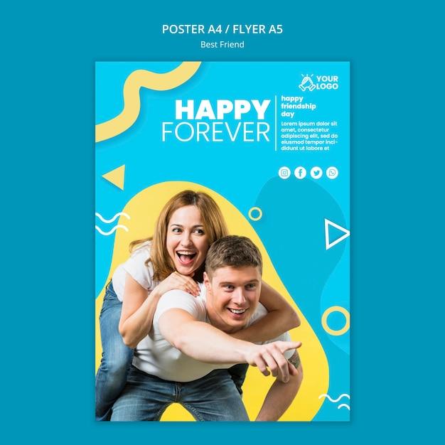 Estilo de póster de mejores amigos PSD gratuito