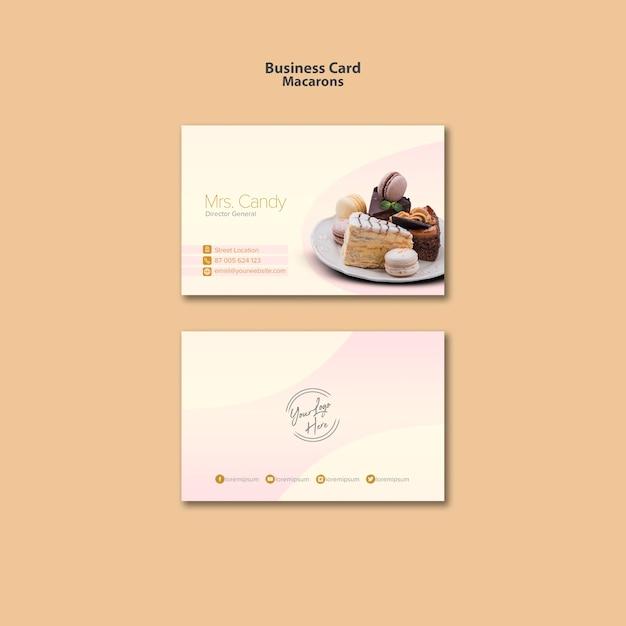 Estilo de tarjeta de visita macarons PSD gratuito