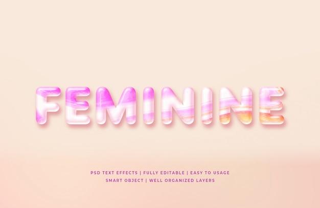Estilo de texto 3d femenino PSD Premium
