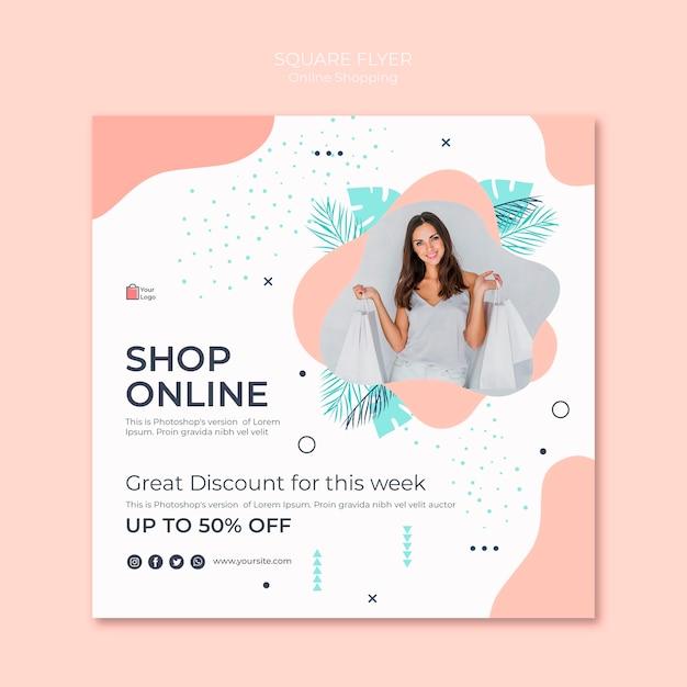 Estilo de volante cuadrado de compras en línea PSD gratuito