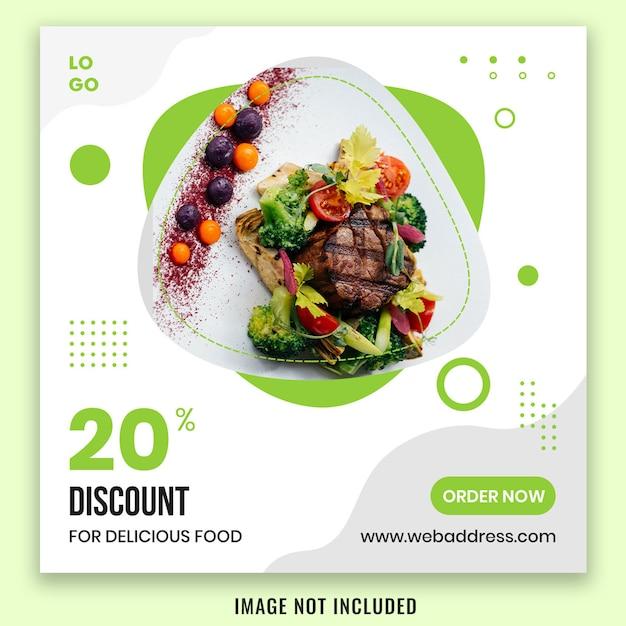 Eten banner social media post sjabloonontwerp Premium Psd