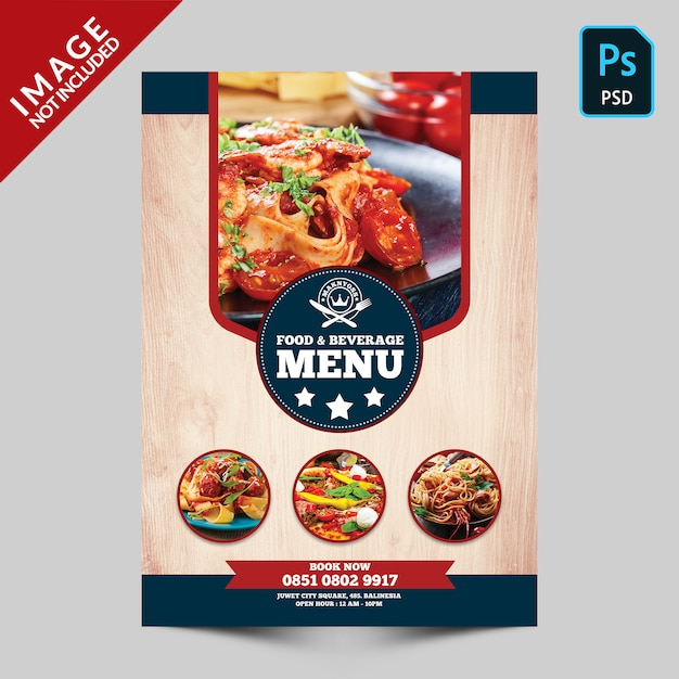 Eten en drinken boek eten menu voorzijde Premium Psd