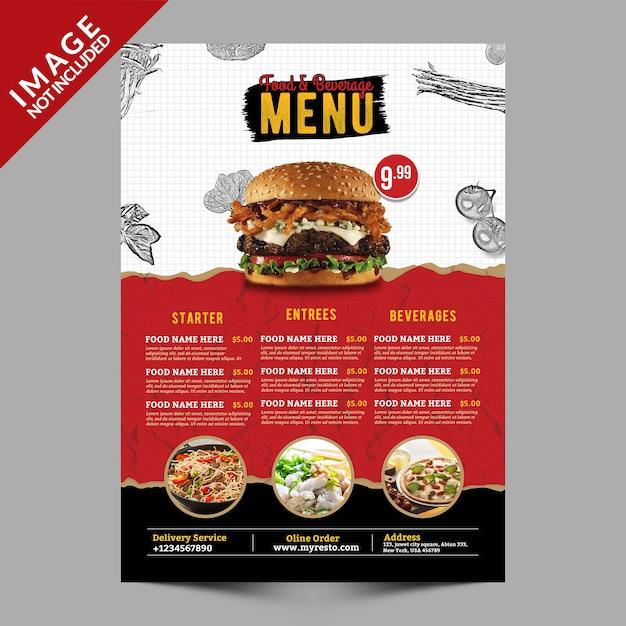 Eten en drinken menu Premium Psd