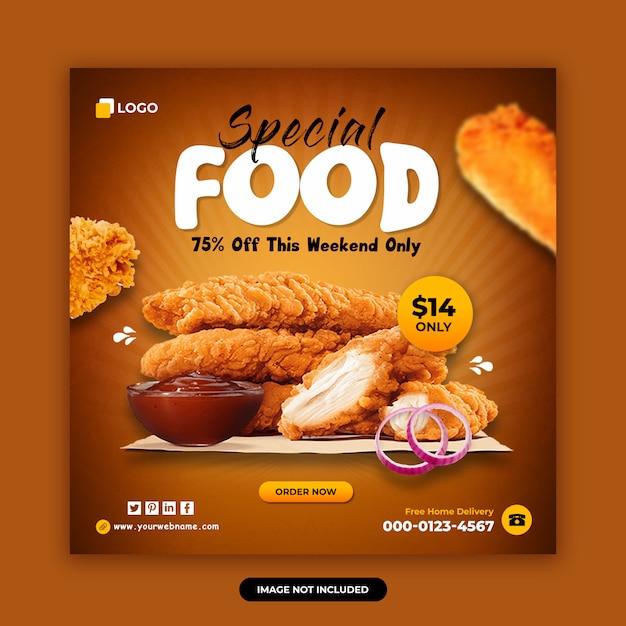 Eten en restaurant sociale media plaatsen ontwerpsjabloon voor spandoek Premium Psd
