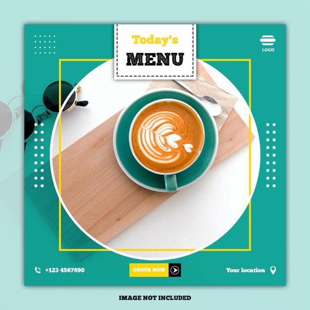 Eten menu banner sociale media post Premium Psd