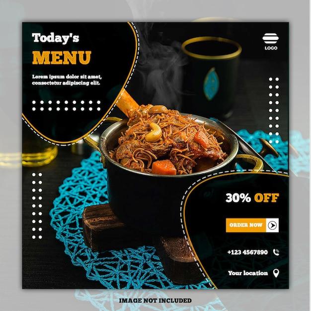 Eten menu banner sociale media sjabloon post Premium Psd