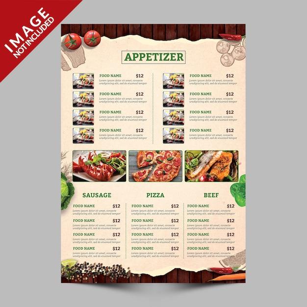 Eten menu boek kant a Premium Psd