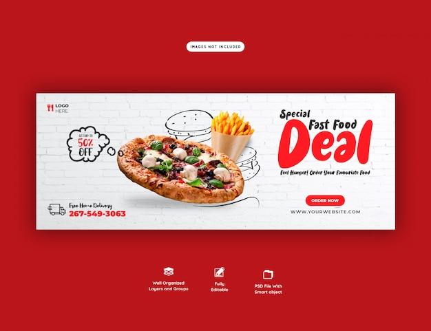 Eten menu en heerlijke pizza facebook cover banner sjabloon Premium Psd