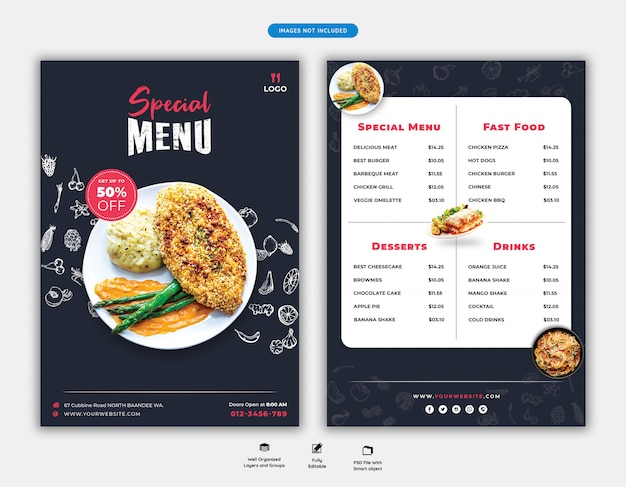 Eten menu en restaurant folder sjabloon Premium Psd
