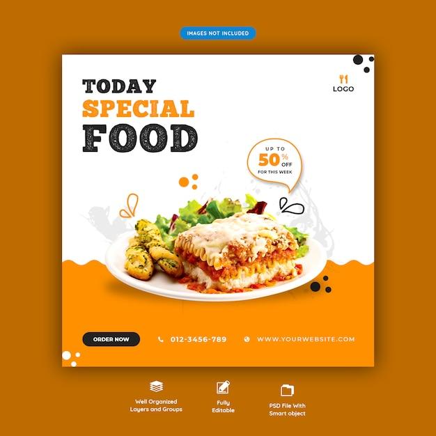 Eten menu en restaurant sociale media sjabloon voor spandoek Premium Psd