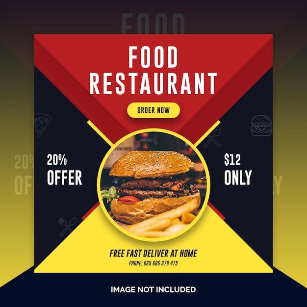 Eten restaurant instagram post, vierkante banner Premium Psd