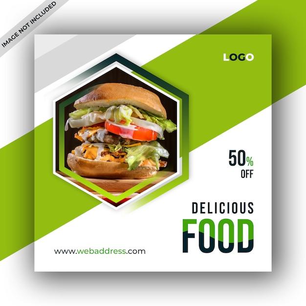 Eten restaurant sociale media post sjabloon Premium Psd