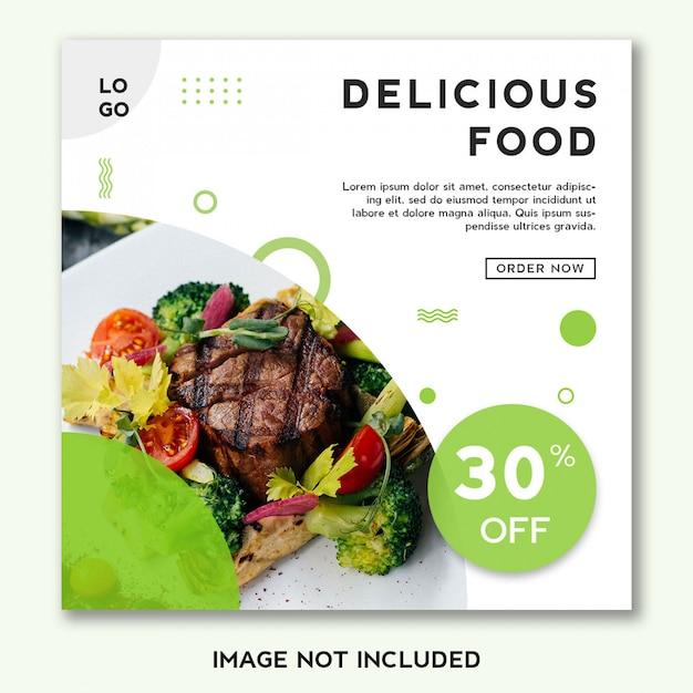 Eten sjabloonontwerp spandoek voor sociale media Premium Psd