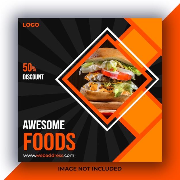 Eten social media bericht Premium Psd