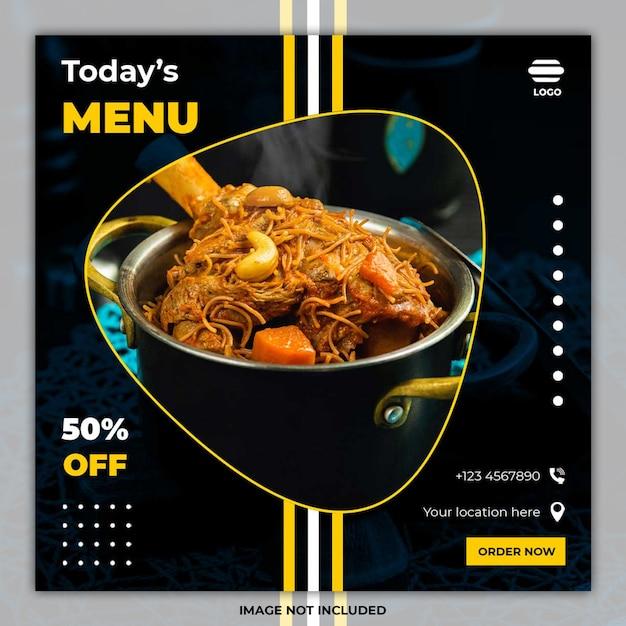 Eten sociale media plaatsen banner-sjablonen Premium Psd