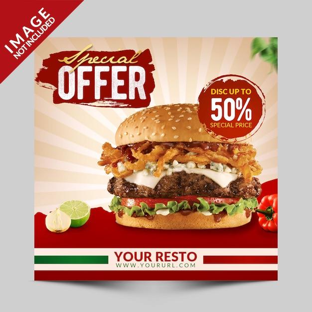 Eten speciale aanbieding social media promotie Premium Psd