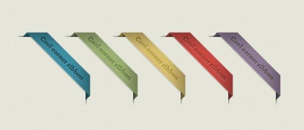 Etiquetas de colores con cinta de esquina PSD gratuito