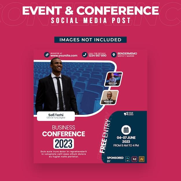 Evenement en conferentie social media post-sjabloon Premium Psd