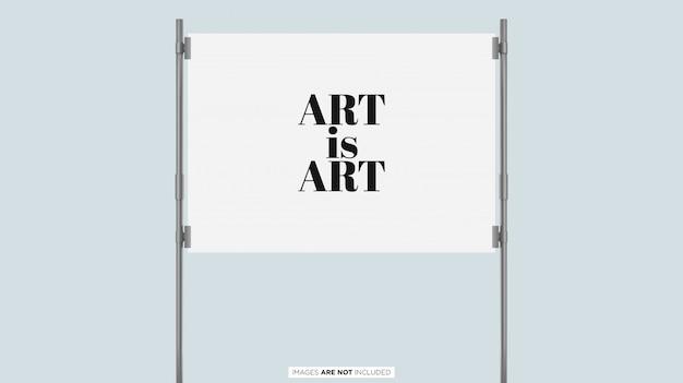 Exhibición de póster con marco de plata psd mockup PSD Premium